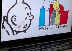 """La imagen de las lágrimas del cómic """"Tintín"""" también se multiplican en las calles de Bruselas. (Foto Prensa Libre: AFP)."""