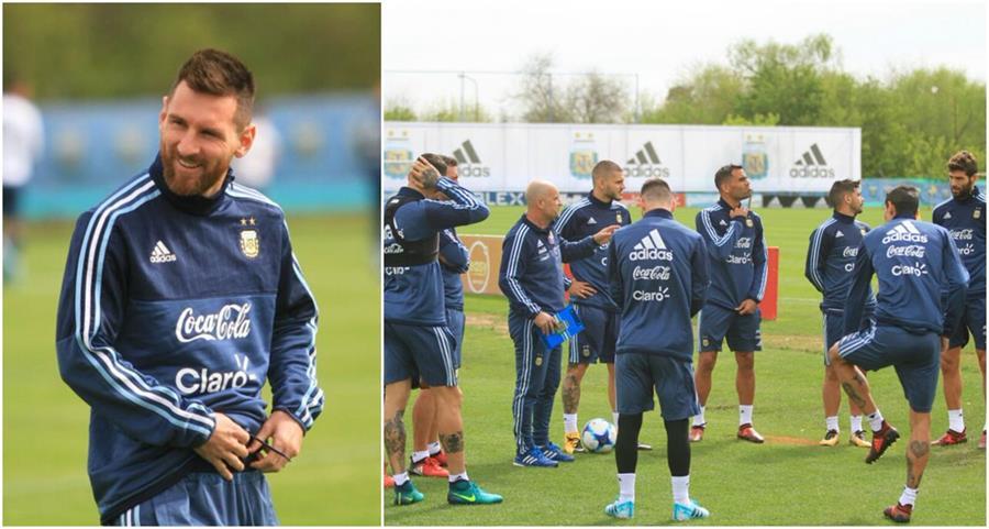 Lionel Messi se incorporó a los entrenamientos de la selección de Argentina. (Foto Prensa Libre: Twitter @Argentina)
