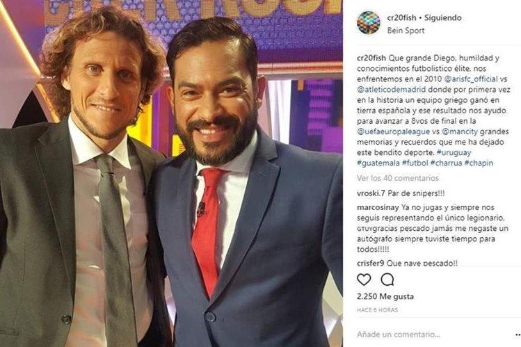 El uruguayo Diego Forlán y Carlos Ruiz compartieron en el programa de Bein Sports. (Foto tomada de Instagram)