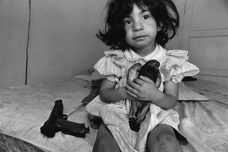 Durante los últimos 30 años, Donna de Cesare ha estado documentando los efectos de la guerra y la violencia de las bandas de jóvenes en América Central y las comunidades de refugiados en los EE.UU. Una niña de tres años sostiene una paloma llamada Esperanza. Su tío ya no puede caminar después de un ataque de pandillas en Watts, Los Ángeles. DONNA DE CESARE