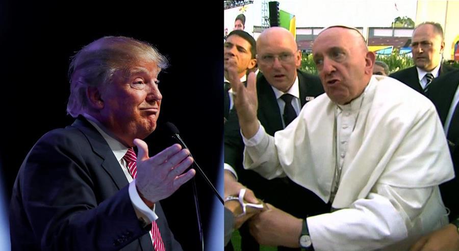 El papa Francisco dice que Donald Trump (der.) no es cristiano. (Fotos Prensa Libre: AP/EFE).
