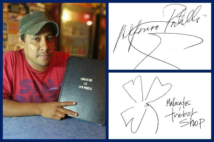 Manuel Martínez muestra el Libro de oro del bar-restarurante las Cien Puertas. Arriba, a la derecha, rúbrica del expresidente Alfonso Portillo. Abajo, la firma de la banda musical Malacates Trébol Shop.