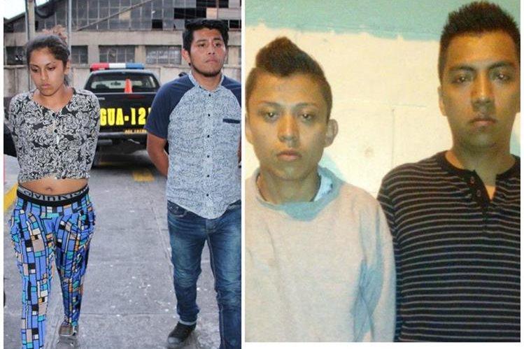 Los cuatro supuestos pandilleros son ingresados a la Torre de Tribunales. (Foto Prensa Libre: Cortesía PNC)