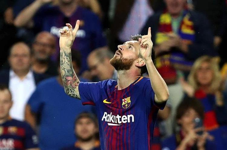 El argentino Lionel Messi celebra el primer gol contra la Juve.