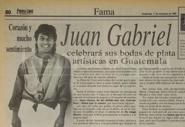Juan Gabriel compartió con los guatemaltecos sus 25 años de carrera artística en 1996. (Foto: Hemeroteca PL)