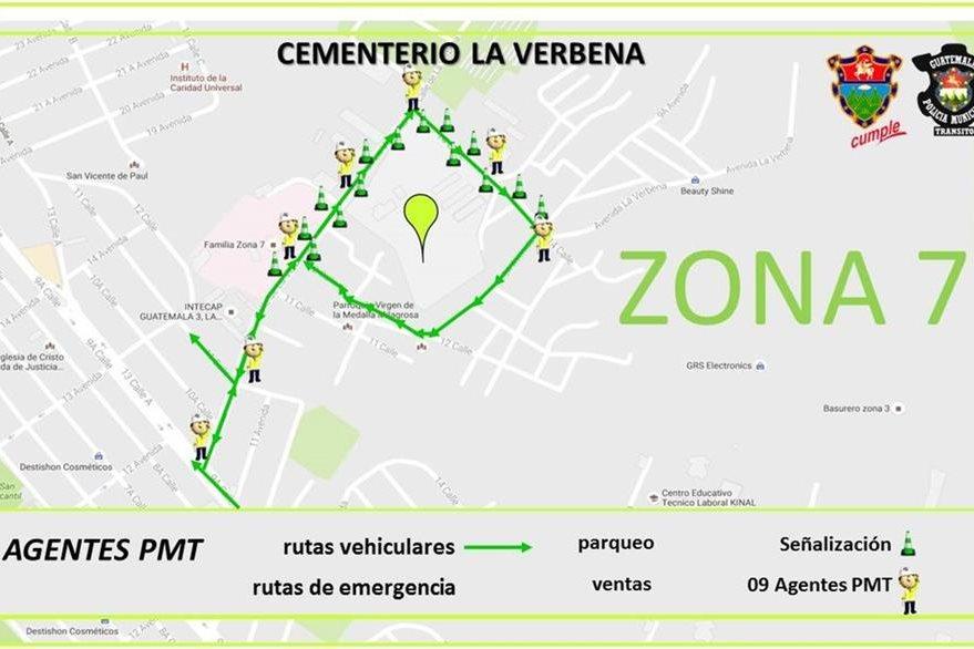 En los alrededores del Cementerio La Verbena, zona 7 también se ubican ventas, y se buscará agilizar el tránsito. (Foto, Prensa Libre: Municipalidad de Guatemala).