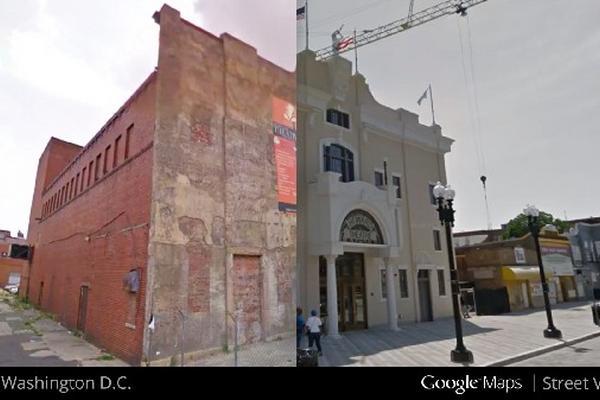 <p>Fachada del teatro Howard en Washington en 2009, y durante su renovación en 2012 (Foto Prensa Libre: AP)<br></p>