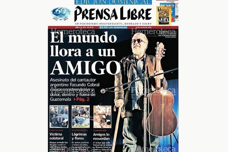 Portada del 10 de julio de 2011 anunciando la muerte de Cabral. (Foto: Hemeroteca PL)