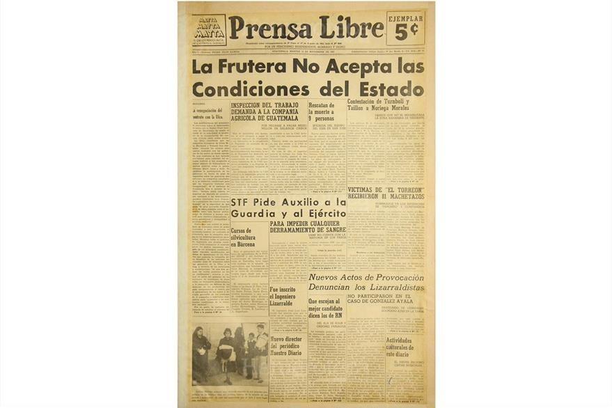 Portada de Prensa Libre del 13/11/1951, con nota sobre la United Fruit Company. (Foto: Hemeroteca PL)
