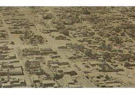 Vista aérea de San Juan Sacatepéquez, Guatemala, en febrero de 1977. (Foto: Hemeroteca PL)