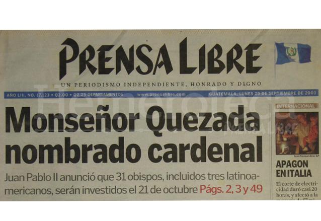Titular de Prensa Libre del 29/09/2003. (Foto: Hemeroteca PL)