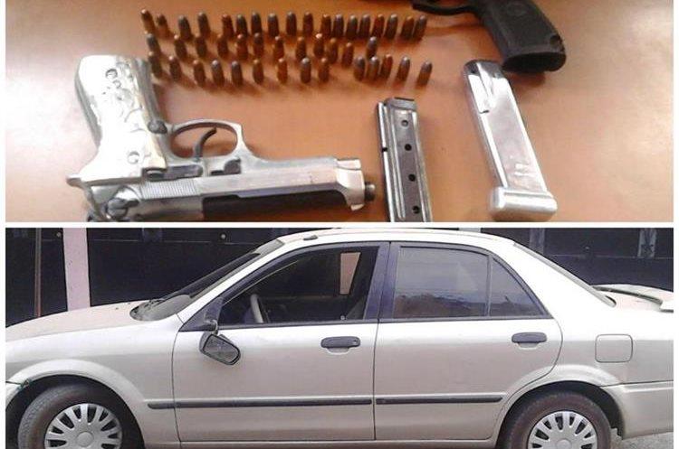Tres pistolas y un vehículo fueron incautados a tres supuestos pandilleros en Villa Hermosa, San Miguel Petapa. (Foto Prensa Libre: PNC)
