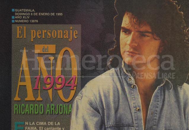 Portada de Prensa Libre del 8 de enero de 1995 con la designación de Ricardo Arjona como Personaje del Año 1994. (Foto: Hemeroteca PL)