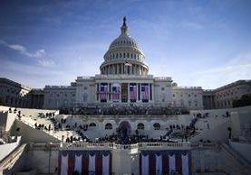 Panorámica del Capitolio durante el ensayo general para la toma de posesión de Trump.(AFP).