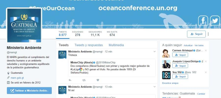El administrador de las redes sociales del Ministerio de Ambiente escribió en twitter mensajes de apoyo al Real Madrid. (Foto Prensa Libre: Tomada de internet)