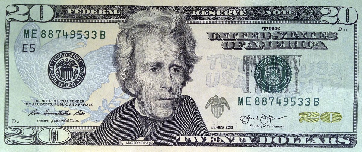 Así lucen los billetes de US$20 con el rostro del expresidente Andrew Jackson. (Foto Prensa Libre: AP).
