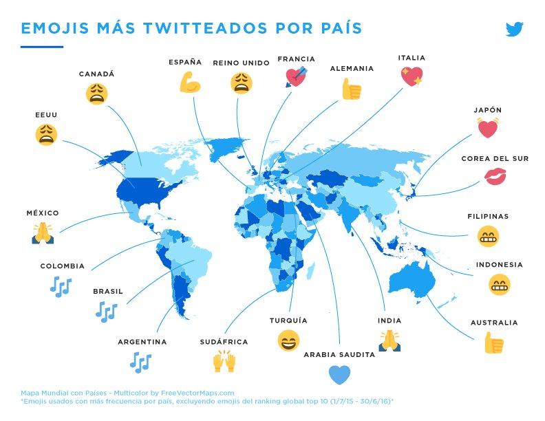 La imagen muestra cuáles son los emojis más usados en cada país. (Foto Prensa Libre: HemerotecaPL).