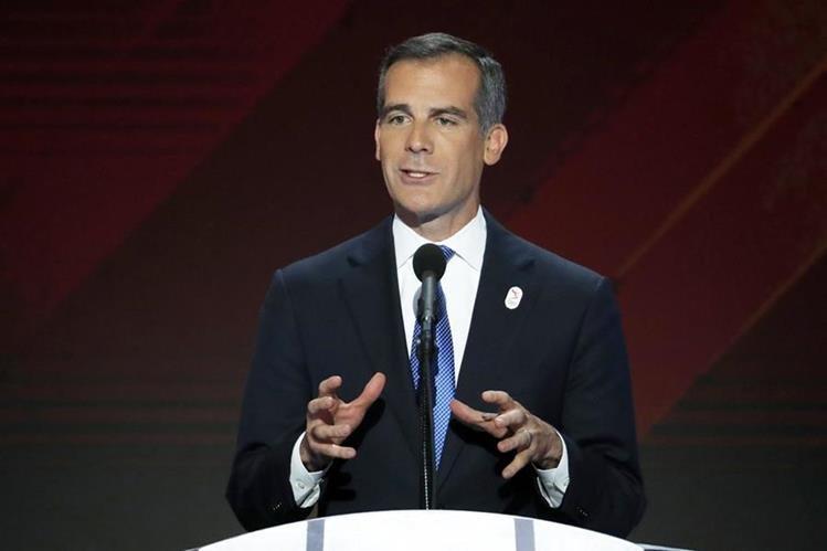 Eric Garcetti, alcalde de Los Ángeles hará la presentación de la ciudad para los Juegos Olímpicos. (Foto Prensa Libre: AP)