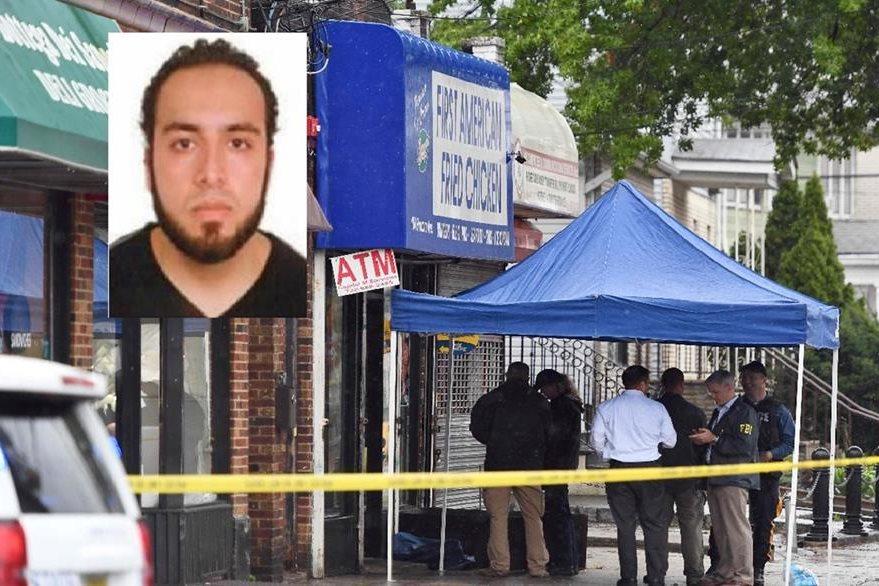 Investigadores del FBI trabaja en el apartamento contiguo al de Ahmad Khan Rahami (inserto).(AFP).