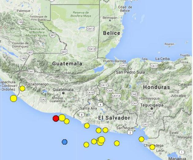 Sismo tuvo su epicentro en la costa de Escuintla. (Foto Prensa Libre: Conred)