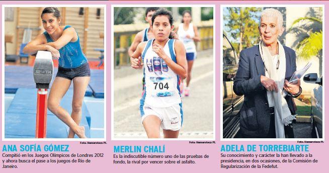 Ana Sofía Gómez, Merlin Chalí y Adela de Torrebiarte, han dejado huella en el deporte. (Foto Prensa Libre: Hemeroteca)