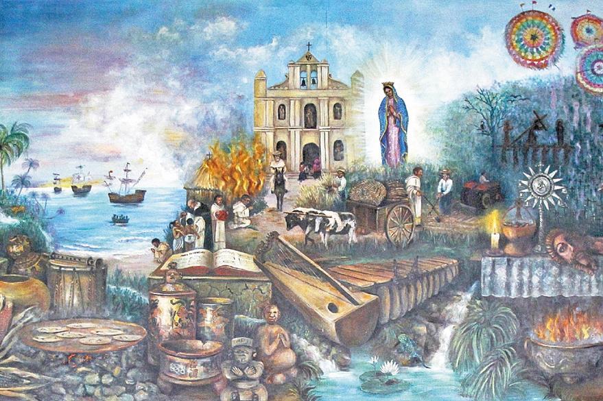 El mural Momentos de la evangelización en Verapaz, de Rosa María de Gámez, resume la historia del pueblo qeqchí.