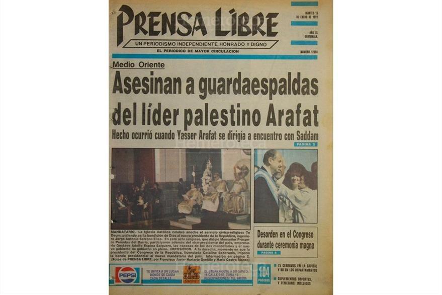 Portada del 15 de enero de 1991, Jorge Serrano Elías toma posesión de la Presidencia en el entonces Estadio Mateo Flores. (Foto: Hemeroteca PL)