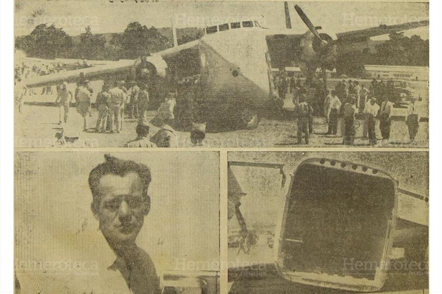 El C-82 de Aviateca realiza un aterrizaje forzoso en el aeropuerto La Aurora, el  7/2/1958. (Foto: Hemeroteca PL)