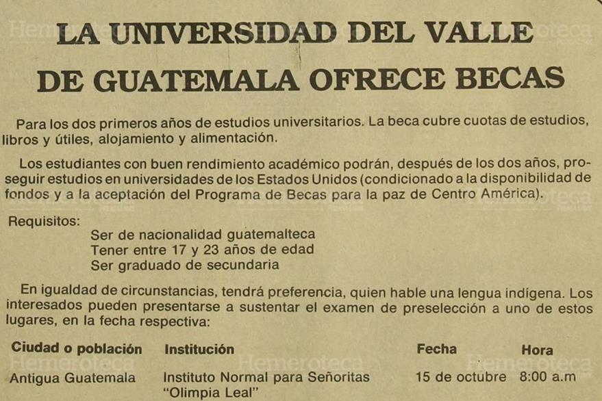 Anuncio del 13/10/1985 en donde se promovía el programa de becas de la Universidad del Valle. (Foto: Hemeroteca PL).