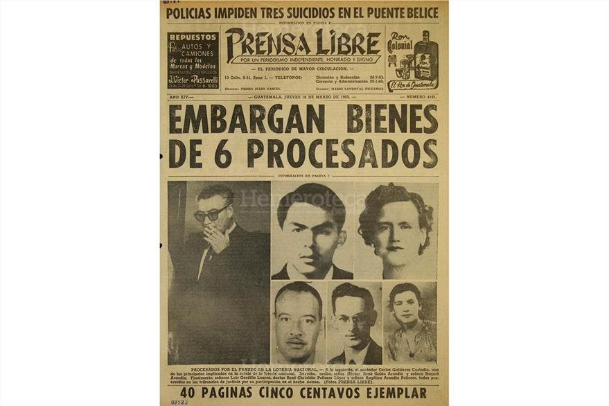Implicados en el fraude de la Lotería Nacional, en la portada de Prensa Libre del 18 de marzo de 1965