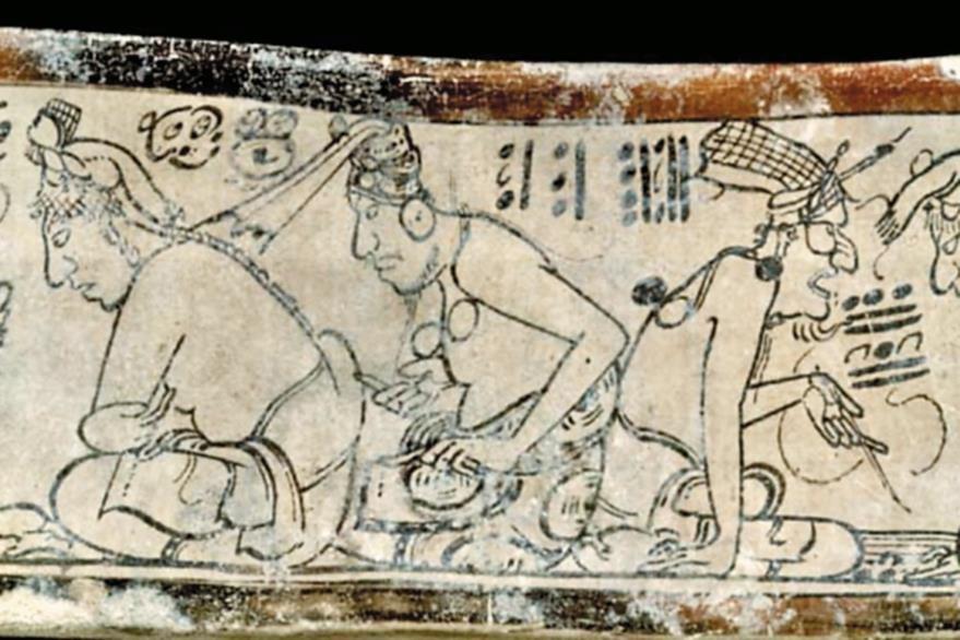 El patrón de la escritura representado por un anciano con una red en la cabeza enseña a unos jóvenes aprendices.