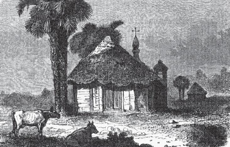 Dibujo de Cahabón, Alta Verapaz, a mediados del siglo XIX. Autor: Arthur Morelet, publicado en el libro Viaje a América Central.
