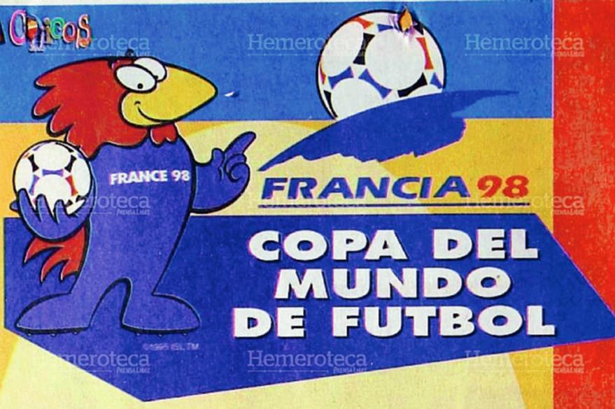 "La mascota oficial ""Footix"" y el logotipo del Mundial de Francia 1998. (Foto: Hemeroteca PL)"