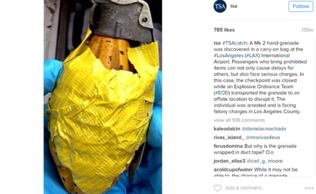 Esta granada fue descubierta en el equipaje de mano de un pasajero que volaba desde el Aeropuerto Internacional de Los Ángeles. (INSTAGRAM/TSA)