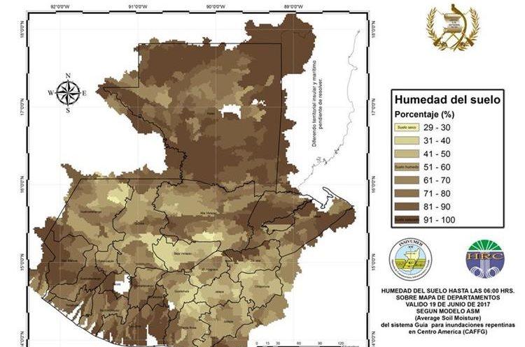 Mapa de humedad en el suelo. (Foto Prensa Libre: Insivumeh)