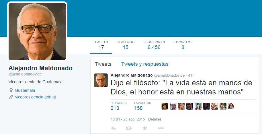 El mensaje de Maldonado sorprendió aunque se criticó la ambigüedad del mismo. (Foto Prensa Libre: Tuiter)