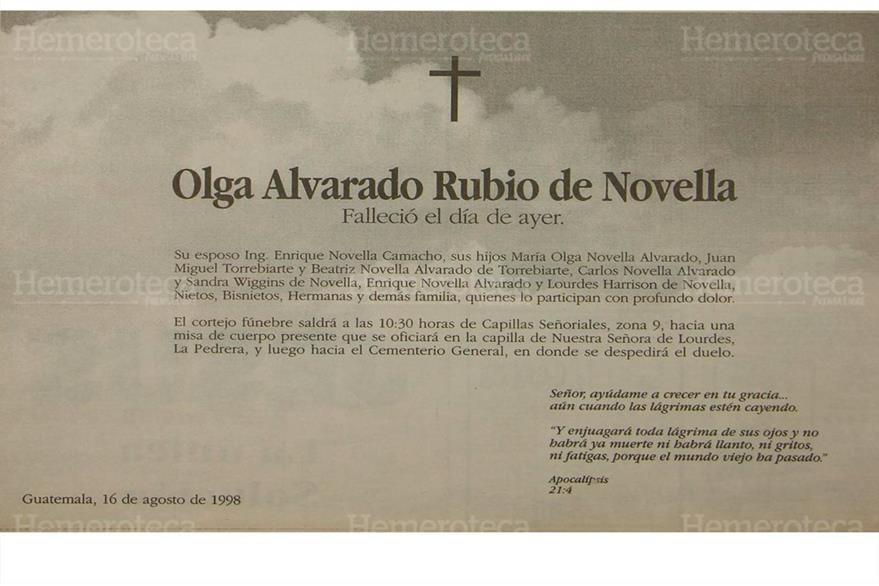 Esquela donde se informaba sobre el fallecimiento de la señora Olga Rubio Alvarado de Novella. (Foto: Hemeroteca PL)
