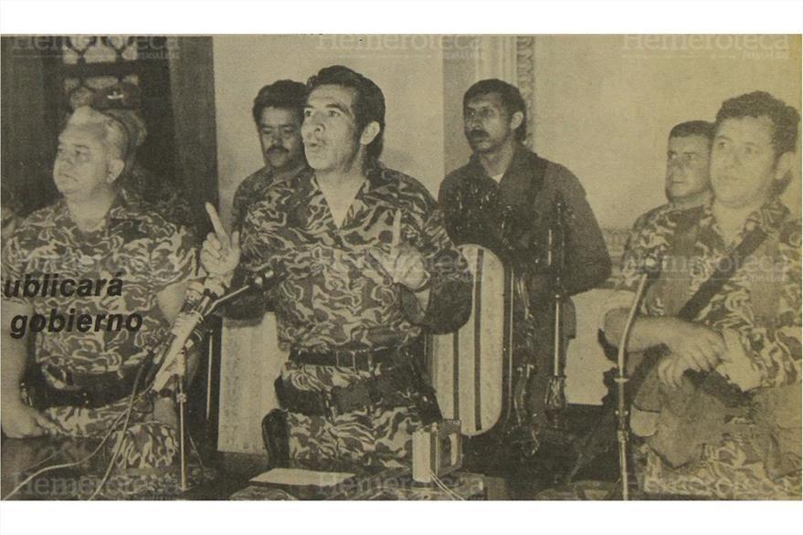 23/03/1982 Conferencia de prensa de José Efraín Ríos Montt, quien encabeza la  junta militar.  (Foto: Hemeroteca PL)