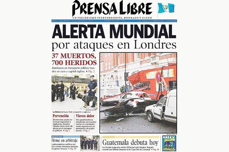 Portada de PL del 8 de julio de 2005 que destaca atentados en Londres. (Foto: Hemeroteca PL)