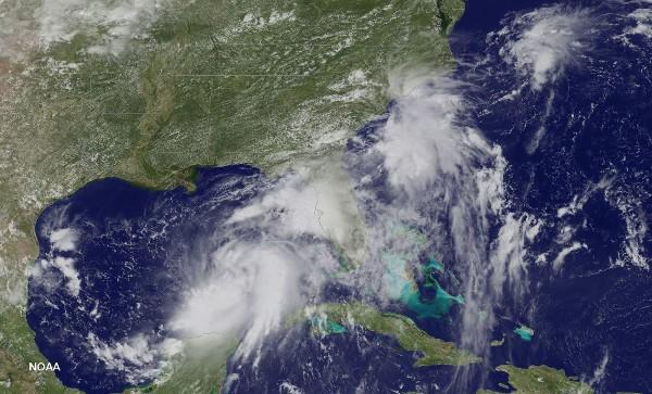 Ubicación de la tormenta tropical Hermine en el océano Atlantico.(AFP).