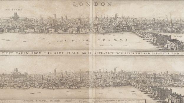 Arriba, una ilustración de Londres antes del incendio, y abajo, una posterior. MUSEUM OF LONDON