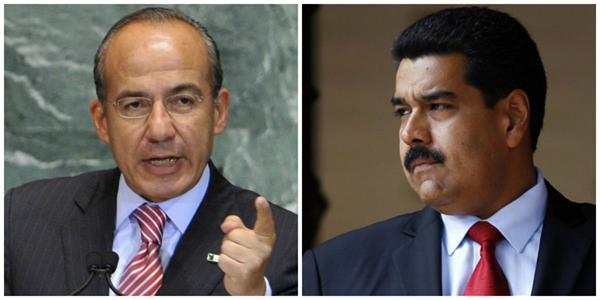 Felipe Calderón y el presidente de Venezuela, Nicolás Maduro, se enfrentaron a raíz de un comentario emitido por el expresidente mexicano durante el partido que Venezuela ganó a Colombia. (Foto: Internet).