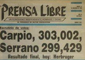 Portada del 14 de noviembre de 1990, en donde se muestra el resultado de la primera vuelta de las elecciones generales. (Foto: Hemeroteca PL)