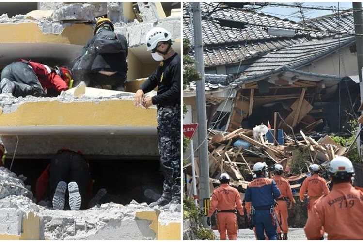 Los potentes terremotos en Ecuador (izquierda) y en Japón (derecha), hacen crecer los rumores de fenómenos similares en México. (Foto Prensa Libre: EFE y AFP).