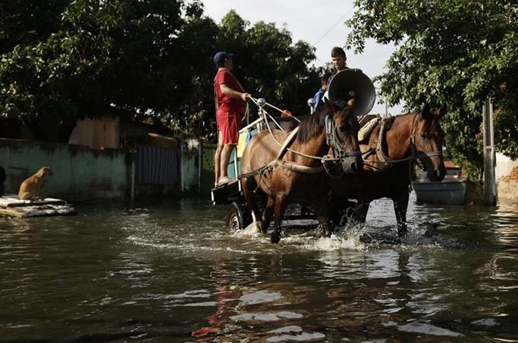 Men selling vegetables drive their horse-drawn cart through a flooded street in the Tacumbu neighborhood of Asuncion, Paraguay, Wednesday, Dec. 23, 2015. The Paraguay River is at its highest level since 1984 and threatening the poor districts that surround the capital, forcing about 100,000 people to shelters. (AP Photo/Jorge Saenz)