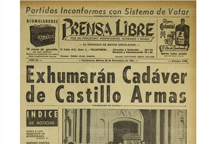 Titular de Prensa Libre del 28/11/1961.(Foto: Hemeroteca PL)