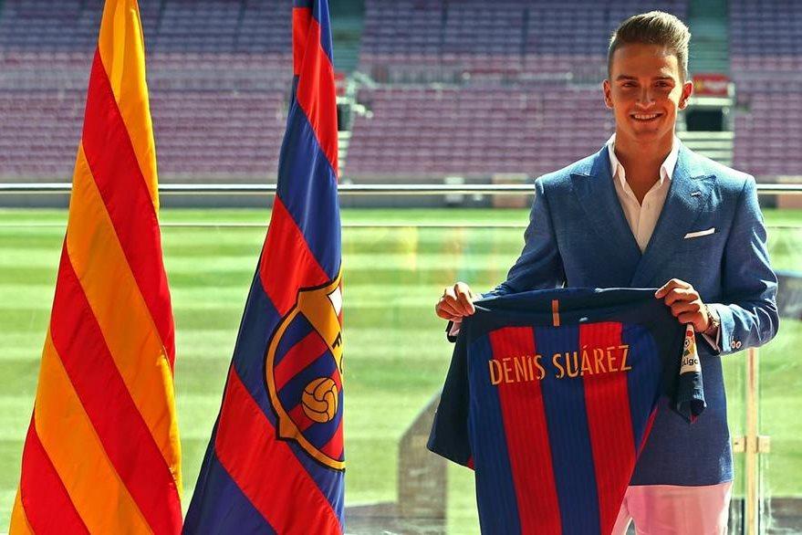El centrocampista Denis Suárez posa durante su presentación como nuevo jugador del FC Barcelona, al que regresa tras dos temporadas en el Sevilla y el Villarreal. (Foto Prensa Libre: EFE)