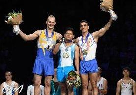 Jorge Vega, gimnasta guatemalteco, gana la medalla de oro en la final de piso de la Copa del Mundo de Gimnasia. (Foto Prensa Libre: Cortesía)