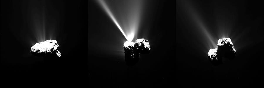 <em>Fotografías captadas por la sonda europea OSIRIS de la Rosetta sobre el cometa 67P. (Foto Prensa Libre: AFP).</em>