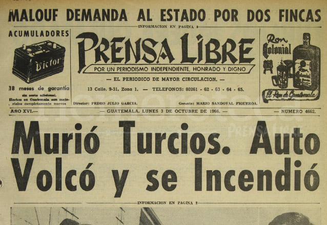 Portada de Prensa Libre del 3 de octubre de 1966. (Foto: Hemeroteca PL)